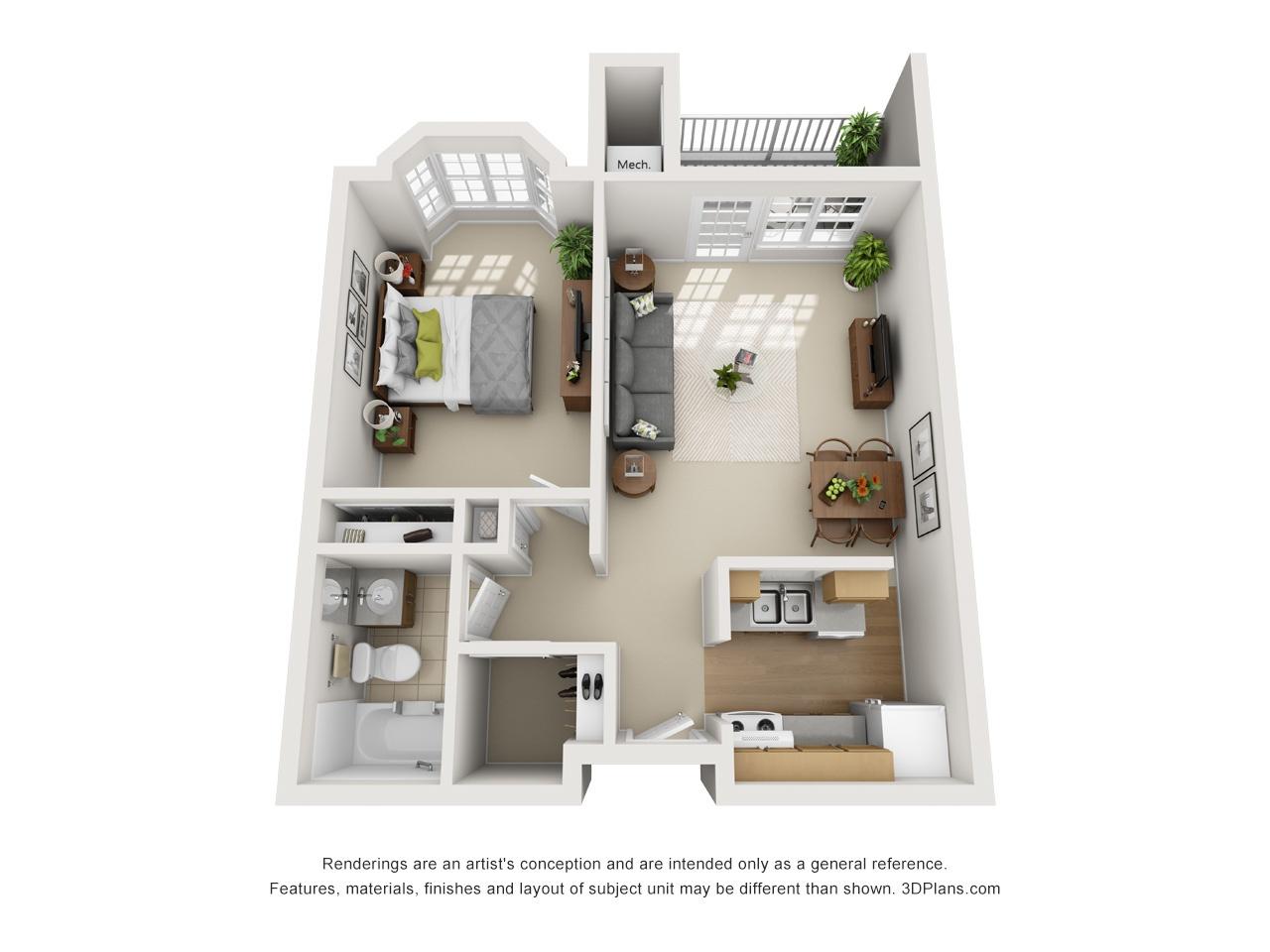 3D OK 1 Bed 545