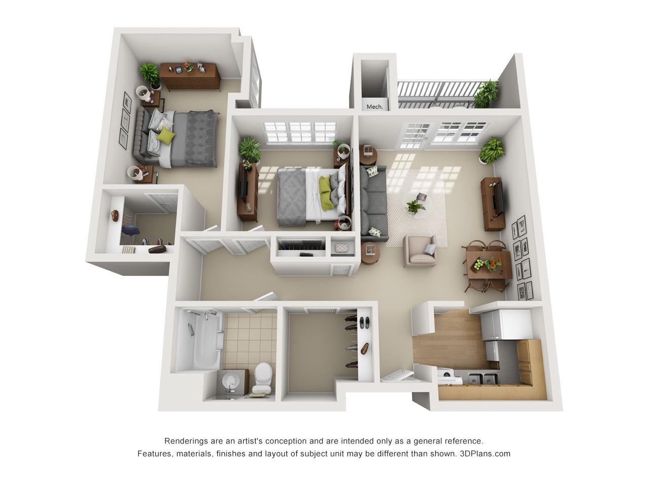 3D OK 2 Bed 840