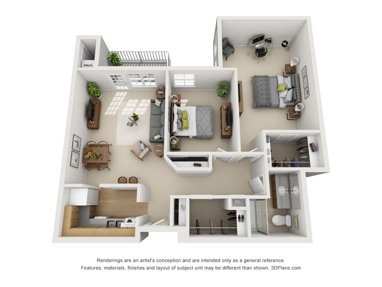 3D OK 2 Bed 945
